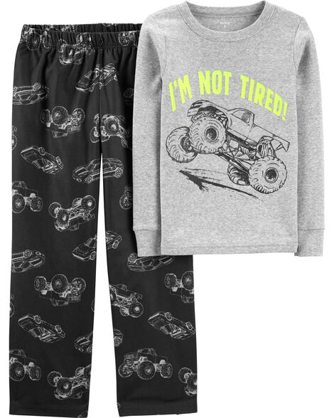 2-Piece Monster Truck Snug Fit Cotton & Fleece PJs