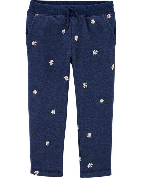 Daisy Print Logo Fleece Pants