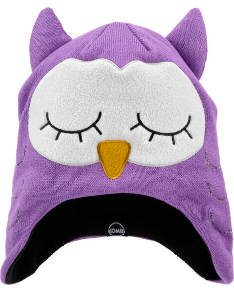 Fleece-Lined Olivia The Owl Knit Hat