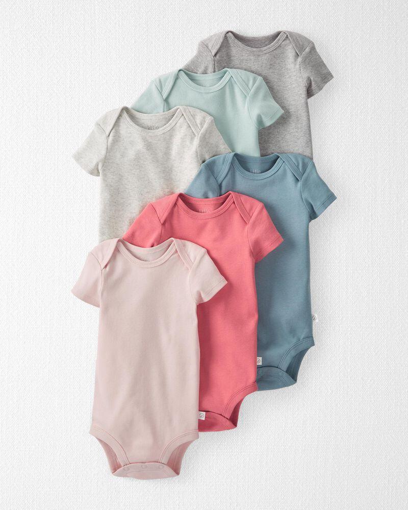 6-Pack Organic Cotton Rib Bodysuits, , hi-res