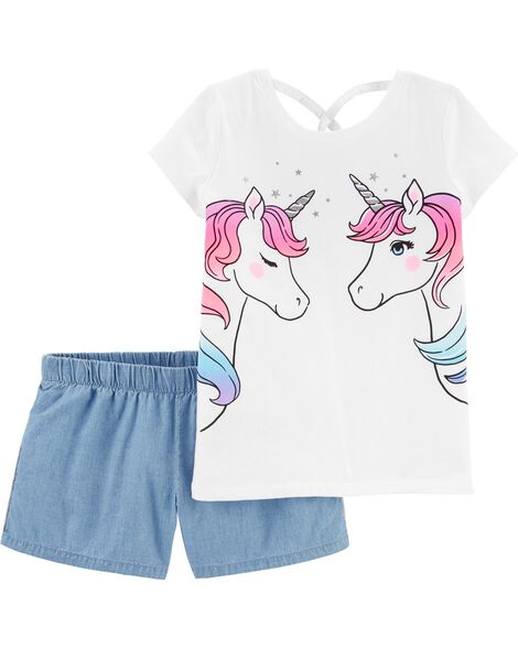 2-Piece Unicorn Jersey Tee & Chambray Short Set
