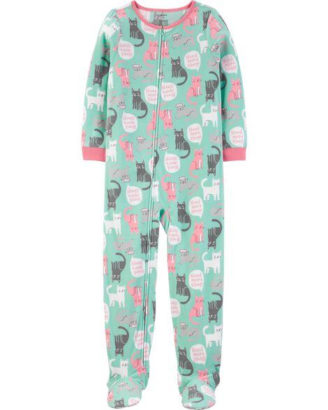 Pyjama 1 pièce en molleton avec pieds chat