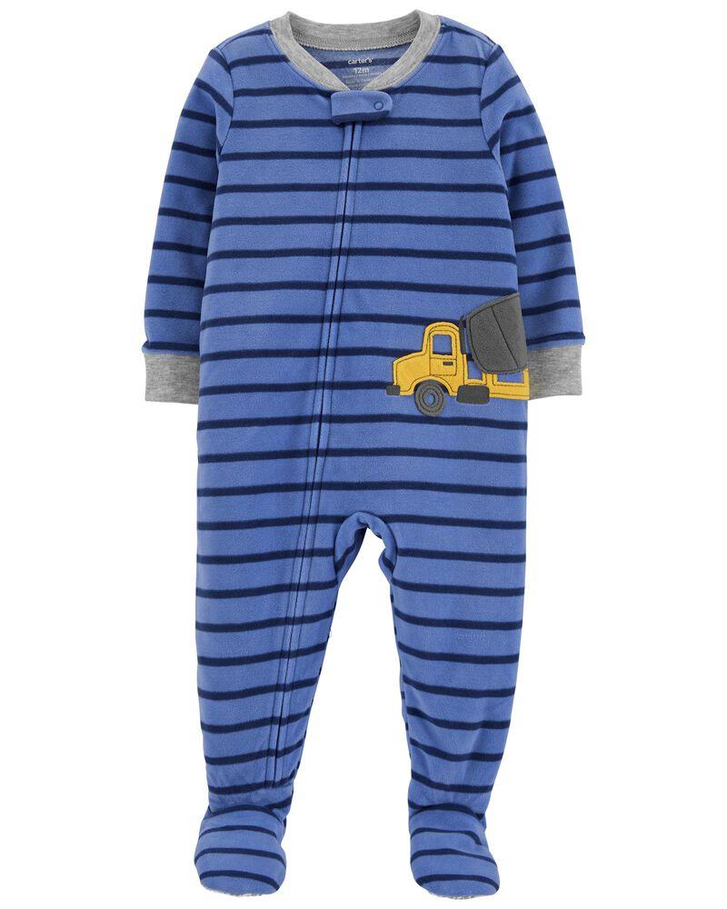 Pyjama 1 pièce à pieds en molleton motif construction, , hi-res