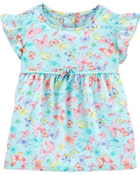 Butterfly Crocheted Poplin Dress