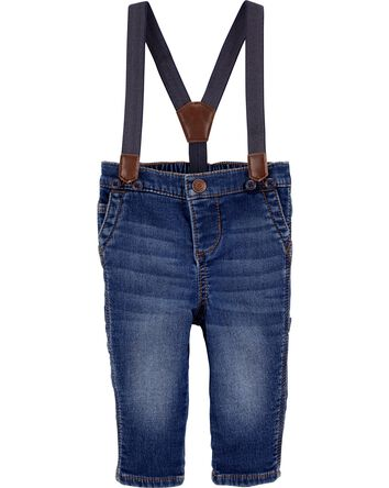 Knit Denim Suspender Jeans