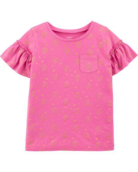 T-shirt en jersey volanté à poche et licorne