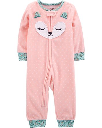 1-Piece Fox Fleece Footless PJs