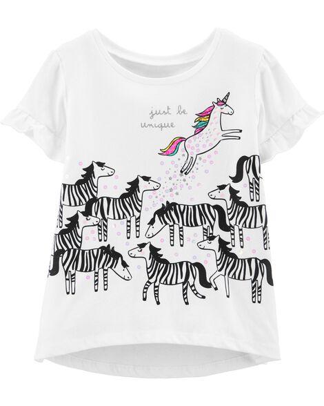 T-shirt à licorne à bord asymétrique