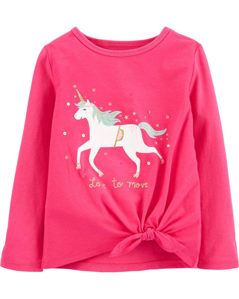 Glitter Unicorn Tie-Front Jersey Tee, , hi-res