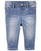 Jeans en tricot de denim à imprimé de cœur - coupe étroite, , hi-res