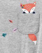 T-shirt en jersey à renard et nœud devant, , hi-res
