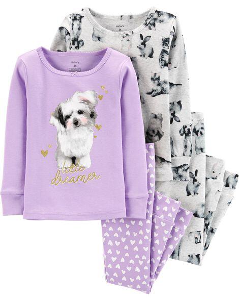 4-Piece Dog Snug Fit Cotton PJs
