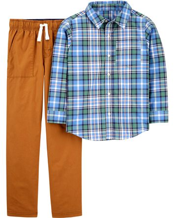2-Piece Plaid Button-Front Shirt &...