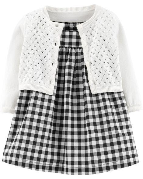 2-Piece Gingham Dress & Cardigan Set