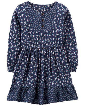 Mixed Print Poplin Dress