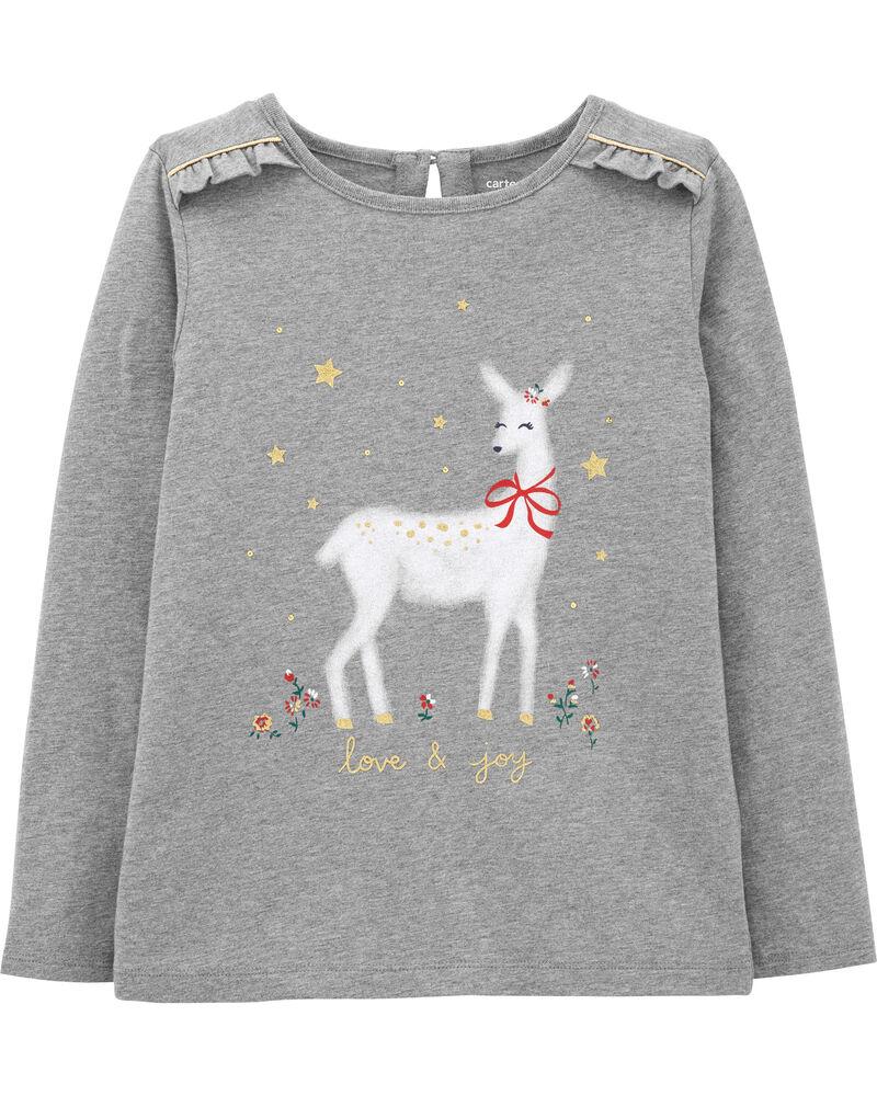 T-shirt en jersey à renne des Fêtes, , hi-res