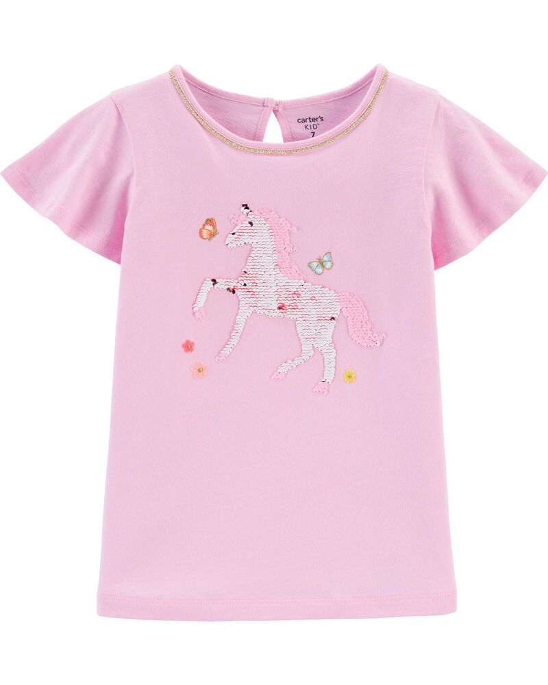 T-shirt en jersey avec cheval en paillettes réversibles, , hi-res