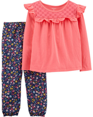2-Piece Ruffle Top & Floral Plant S...