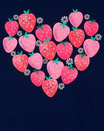 T-shirt en jersey à cœur et fraise