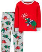 Pyjama des Fêtes 2 pièces en molleton Dinosaure des fêtes, , hi-res