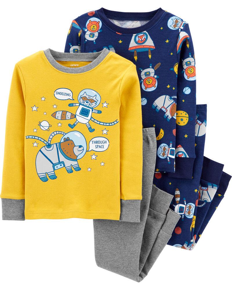 Pyjama 4 pièces en coton ajusté espace, , hi-res