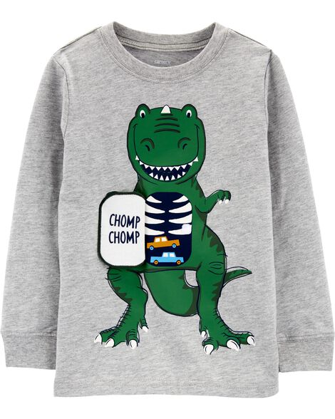 Dinosaur Peek-A-Boo Flap Jersey Tee