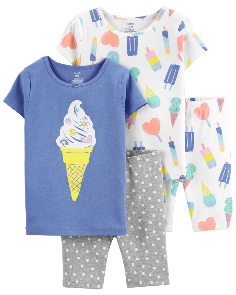 4-Piece Ice Cream 100% Snug Fit Cotton PJs, , hi-res