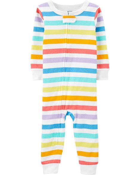 Pyjama 1 pièce sans pieds en coton ajusté à rayures