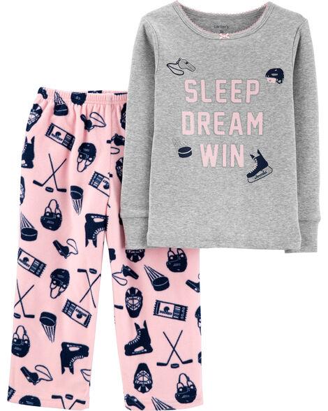 2-Piece Hockey Snug Fit Cotton & Fleece PJs