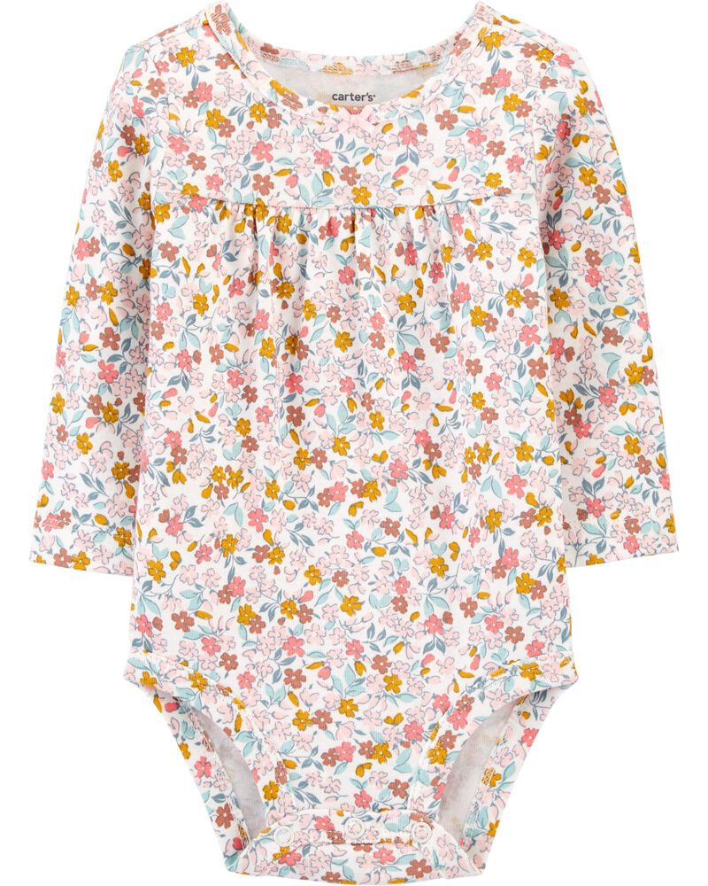 Floral Long-Sleeve Bodysuit, , hi-res