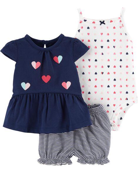 3-Piece Heart Little Short Set