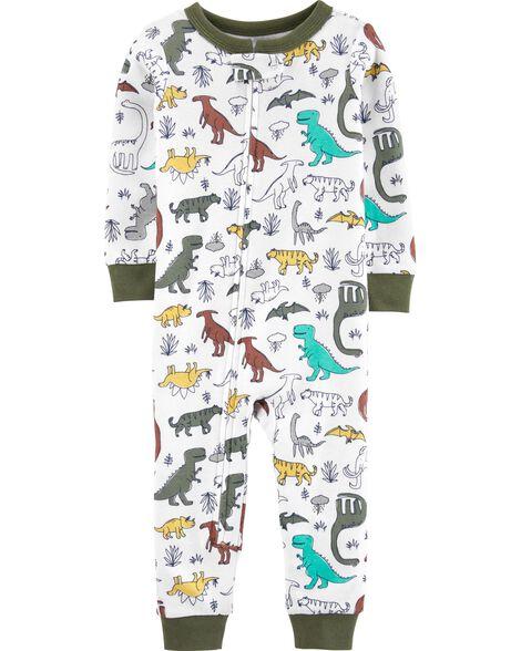 Pyjama 1 pièce sans pieds en coton ajusté motif dinosaures