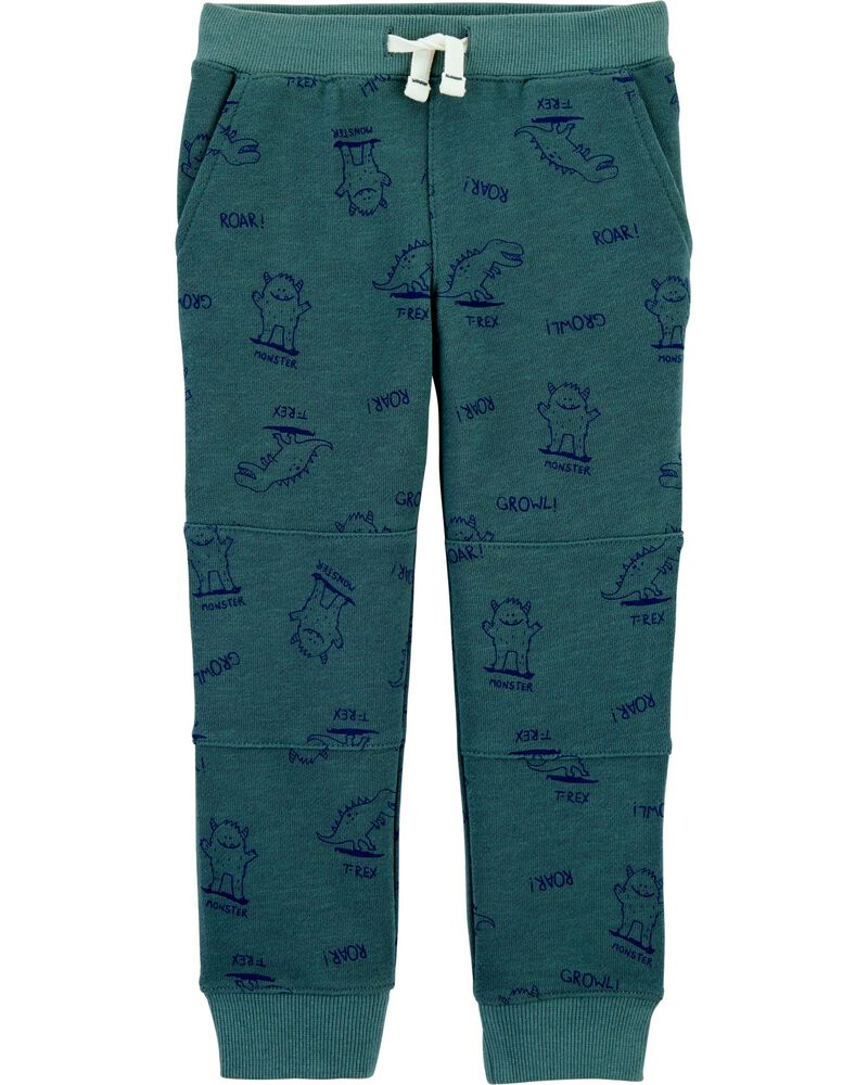 Dinosaur Print Pull-On French Terry Joggers, , hi-res