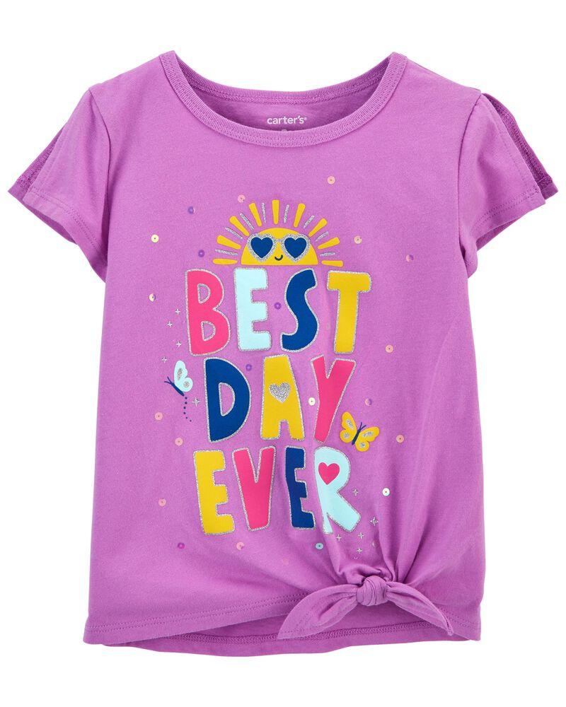 T-shirt en jersey à nœud devant Best Day Ever , , hi-res