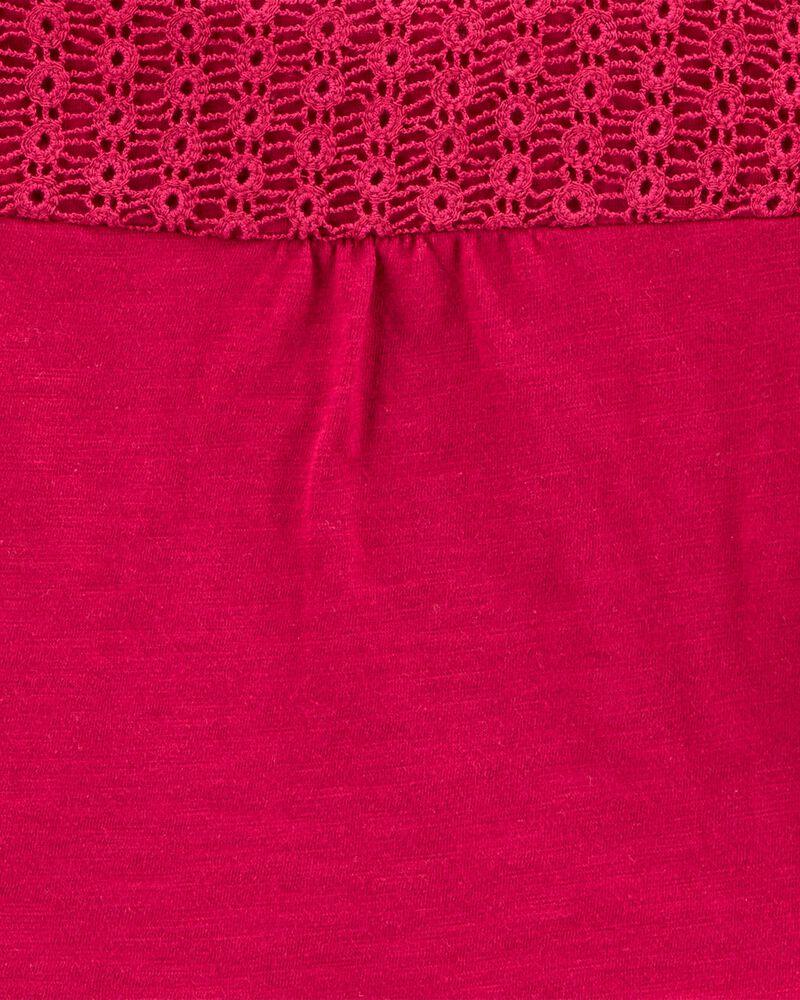 Crocheted Peplum Jersey Top, , hi-res