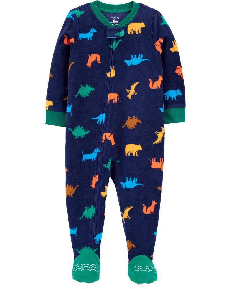1-Piece Dinosaur Fleece Footie PJs, , hi-res