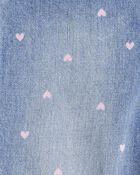 Heart Print Denim Overalls, , hi-res