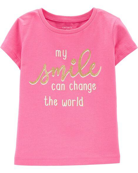 T-shirt en jersey à slogan sourire