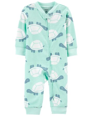 Turtle Zip-Up Cotton Footless Sleep...
