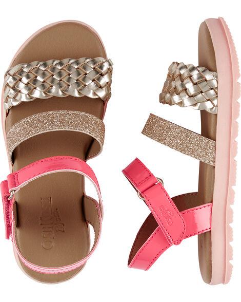 Sandales torsadées d'aspect métallique