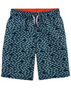Shark Print Swim Trunks, , hi-res