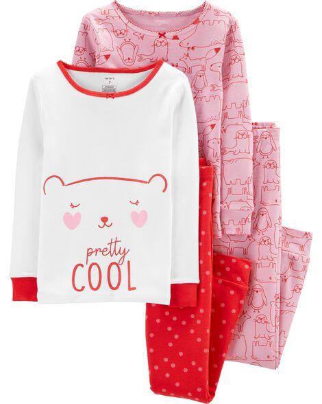 Pyjama 4 pièces en coton ajusté ours
