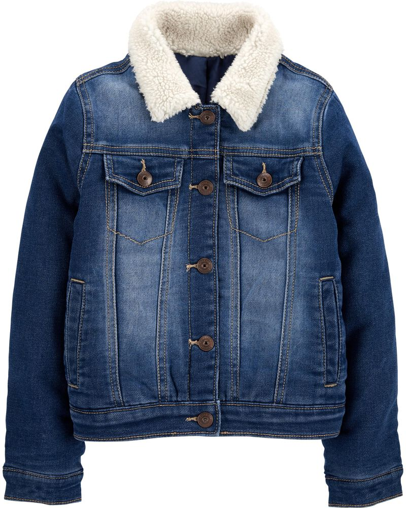 Cozy Knit Denim Jacket, , hi-res