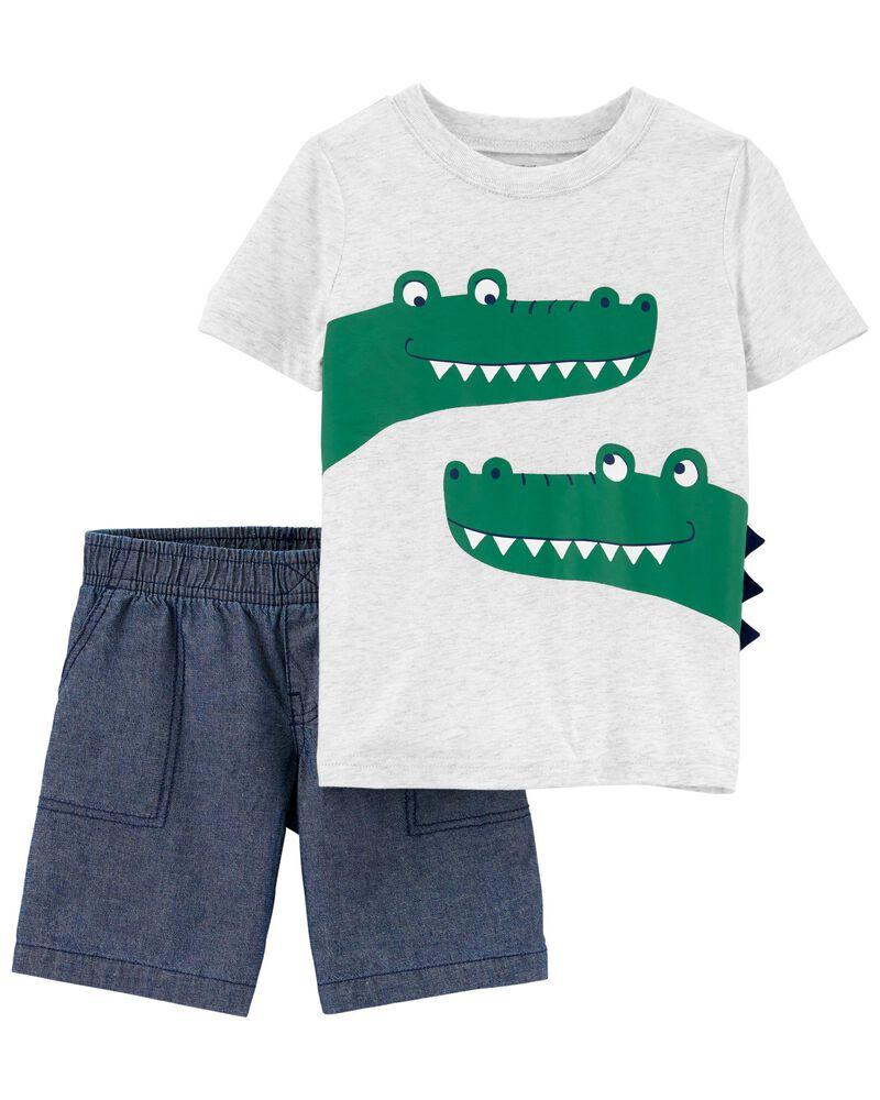 2-Piece Alligator Tee & Short Set, , hi-res