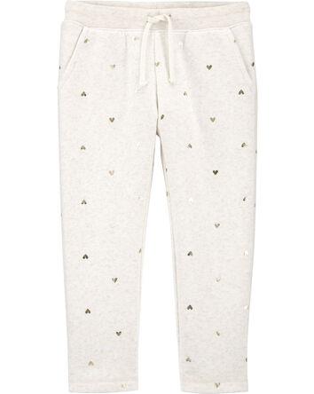 Heart Print Logo Fleece Pants