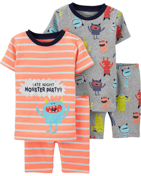 4-Piece Monster Snug Fit Cotton PJs