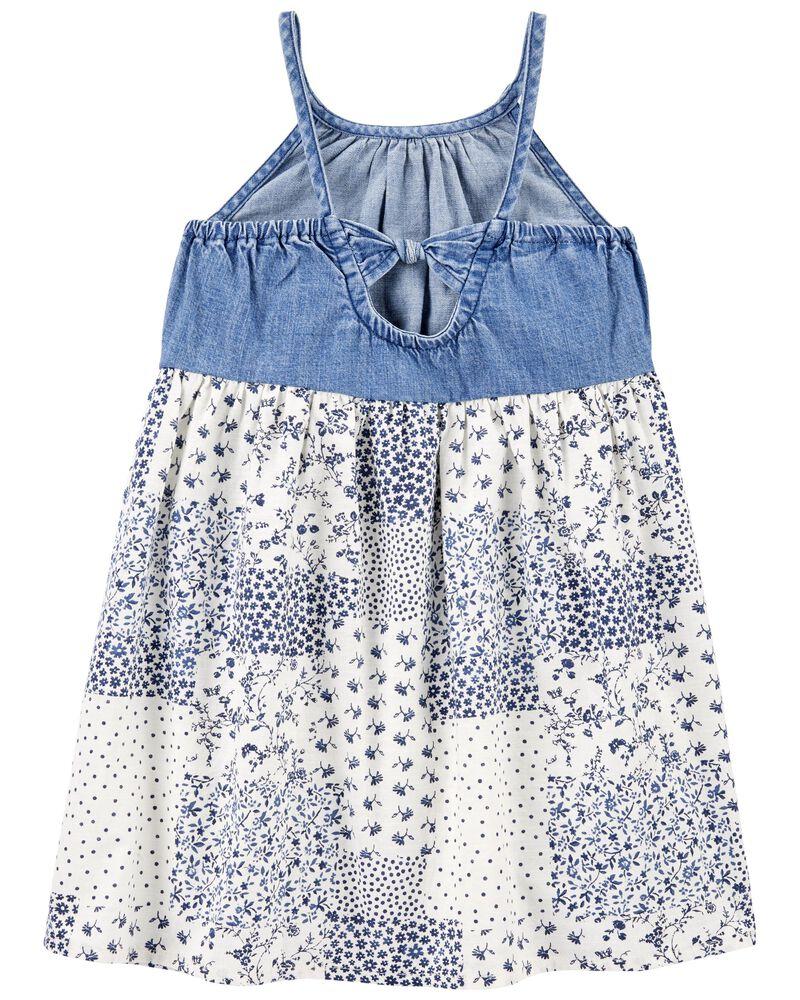 Denim & Patchwork Dress, , hi-res