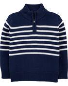 Half-Zip Knit Striped Pullover, , hi-res