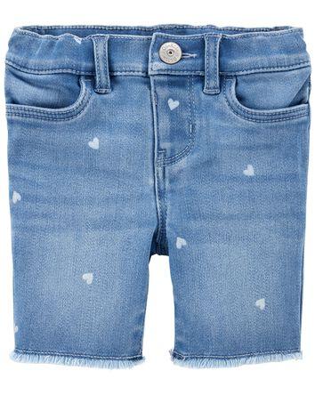 Heart Print Knit Denim Shorts
