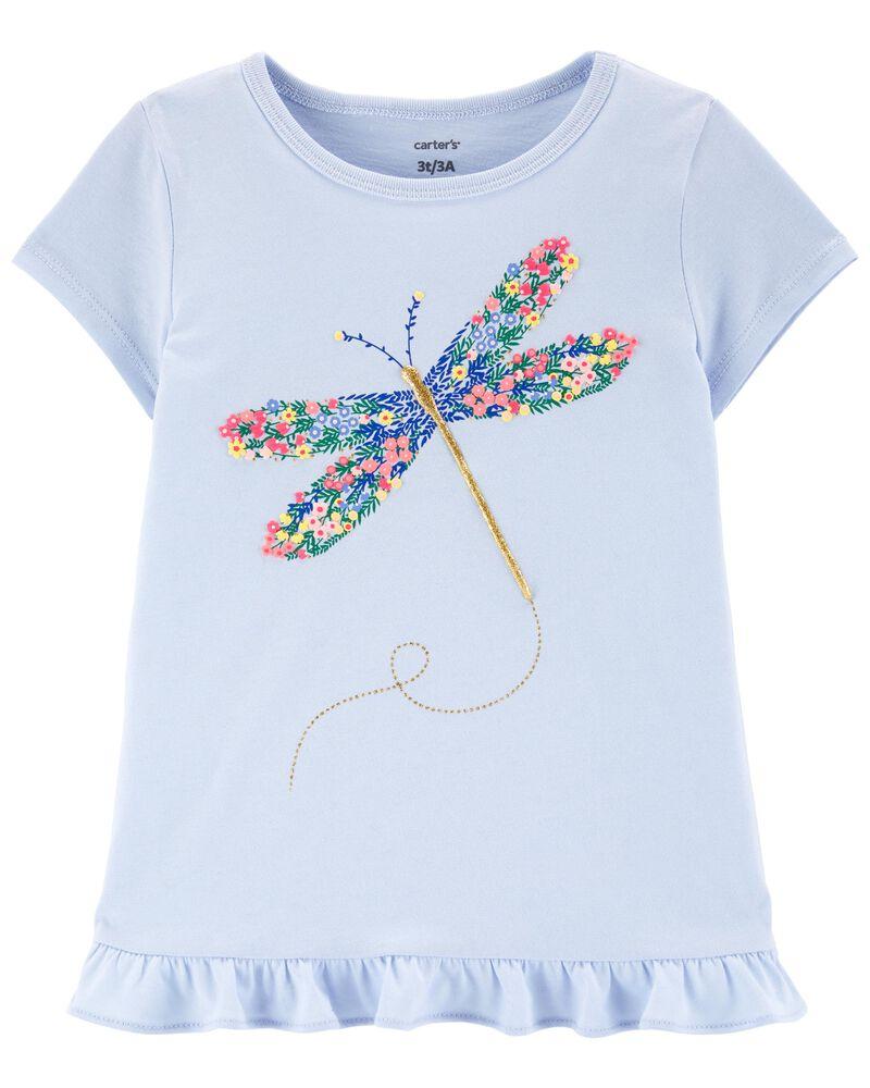 T-shirt en jersey fleuri à libellule, , hi-res